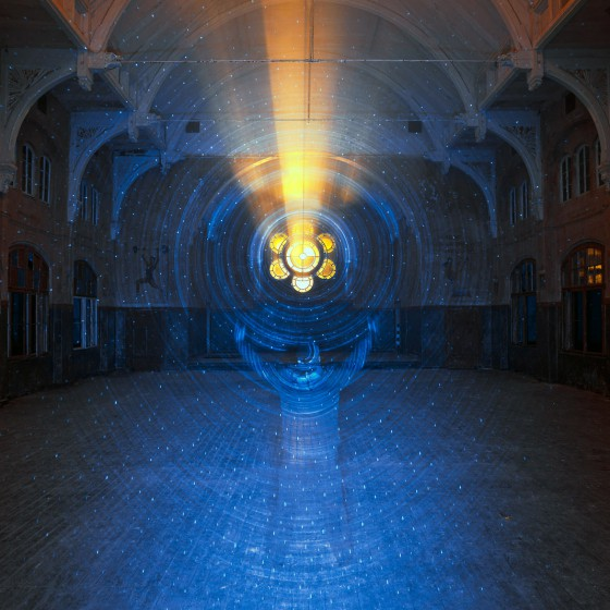 beelitz-heilstätten-light-painting-yellow-light-through-dining-room-window-blue-light-with-person