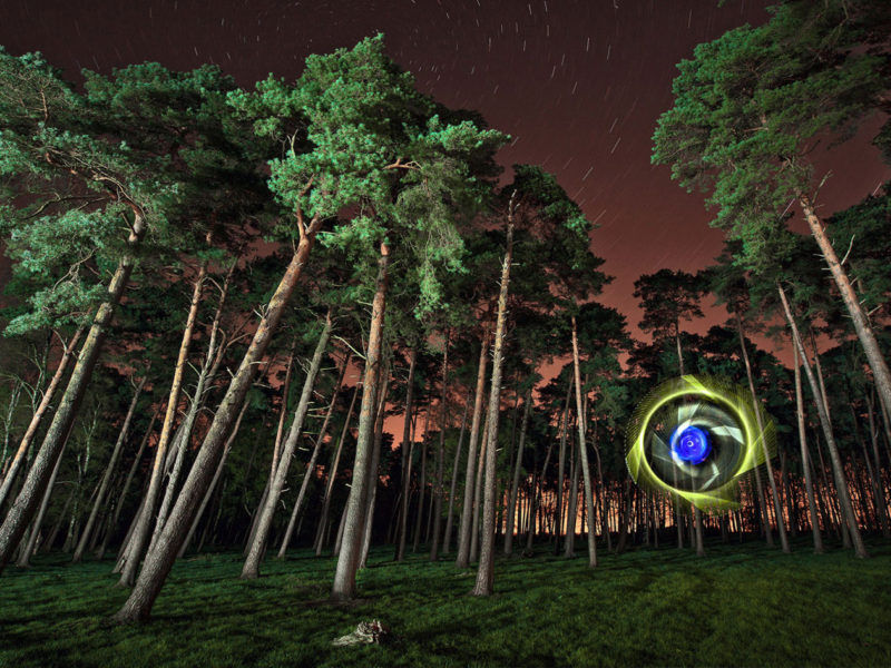 Light Art Photography - Landscape trees and orb - Light Painting - by JanLeonardo