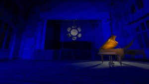 Piano - Beelitz - Light Painting - Blue lines